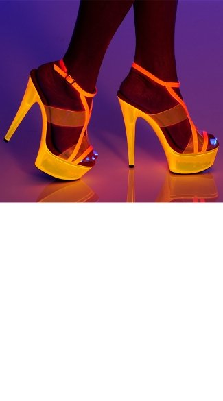 "6"" Platform Strappy Sandal With Neon Vinyl Panel Inserts"