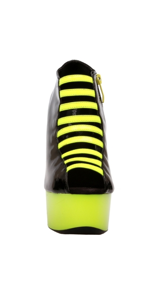 "6"" Open Toe Bootie With Neon UV Reactive Center Straps"