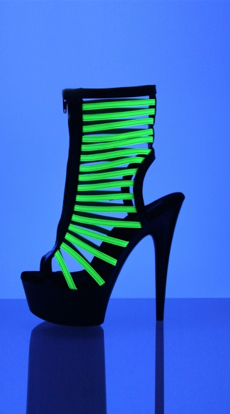 "6"" Bootie With Front Zipper And UV Reactive Neon Straps"