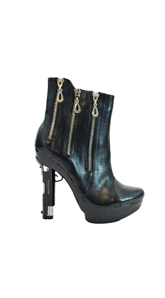 "5"" Zippered Platform Ankle Boot With Handgun Heel"