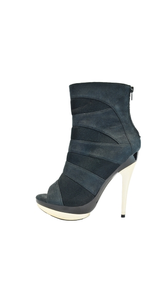 "5"" Open Toe Ankle Bootie With Lycra Panel Inserts"