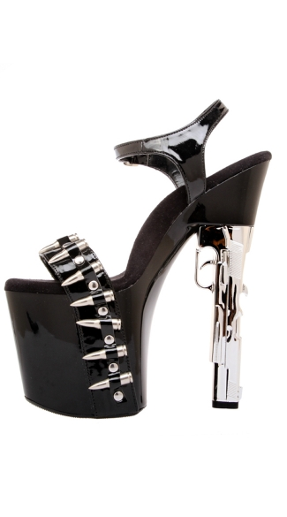 "7 1/2"" Gun Heel With Bullet Covered Platform And Vamp Strap"
