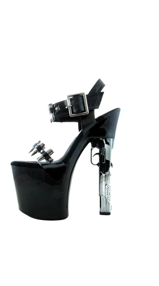 "7 1/2"" Platform With Chrome Gun Heel And Bullet Vamp Strap"