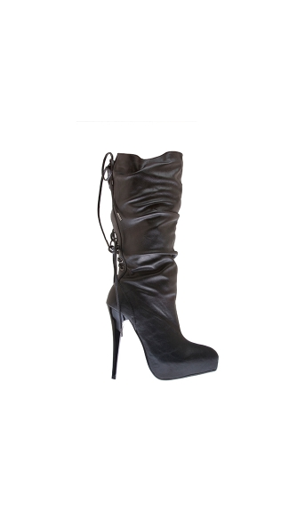 "5"" Ultra Thin Heel Knee High Boot With Back Lace Up"