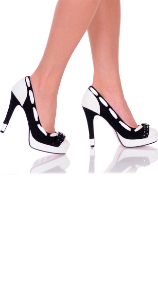 "5"" Black and White Canvas Pump With Buckle Detail"