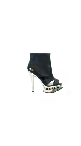 "5"" Platform Ankle Bootie With Open Toe And Side Cut Out"