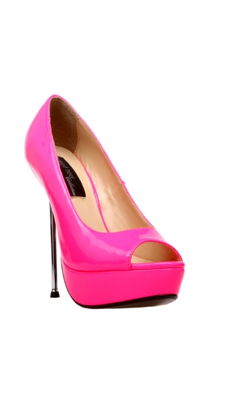 "5"" Micro Stiletto Steel Heel Open Toe Neon Pump"