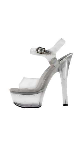 "6"" Large Clear Platform Sandal"