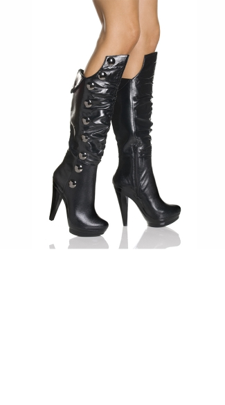 "5"" Platform Knee Boot With Chrome Ornaments"