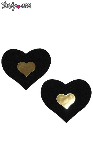 Black and Gold Heart Pasties