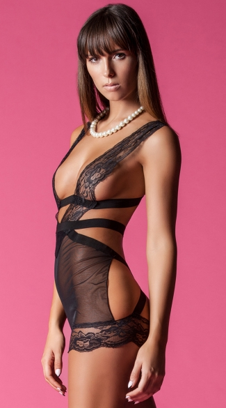 Bound For Trouble Lace Chemise, Sexy Black Mesh Chemises, Open Back Black Chemises
