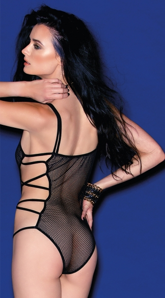Fishnet Teddy With Criss-Cross Straps