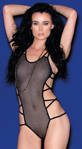 Fishnet Teddy With Criss-cross Straps, Black Sheer Teddy, Bodysuits For Women