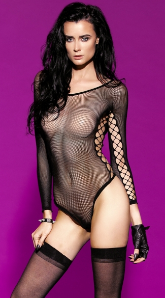 Sheer Vixen Fishnet Teddy, Fishnet Bodystocking, Erotic Clothing