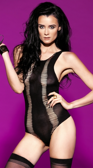 Shredded Stripes Teddy, Bodysuits For Women, Opaque Teddy