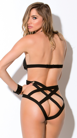 Strappy Cage Teddy with O-Rings