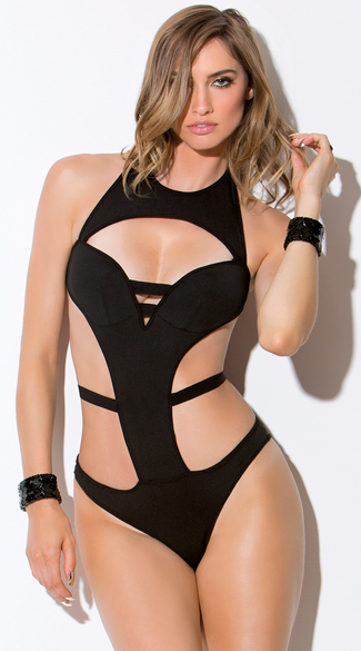 Black Cutout Ruched Teddy