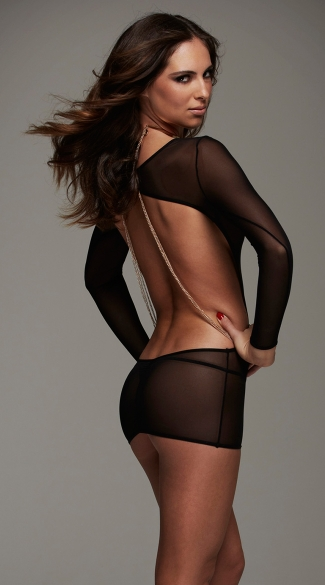 Long Sleeve Backless Chemise