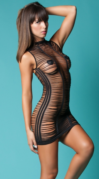 After Dark Shredded Chemise, Sexy Revealing Black Chemises, See-Through Skin Tight Nighties