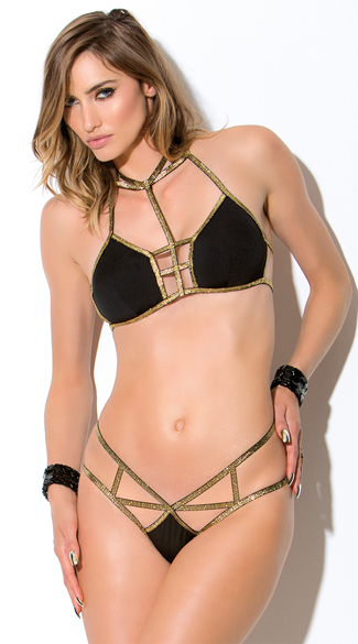 Black and Gold Cage Bra and Panty Set, Black and Gold Bra, Strappy Bra Set