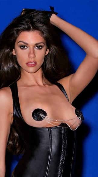 Chained Black Tuxedo Bow Pasties