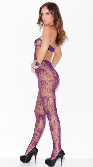 Purple Cut Out Bodystocking