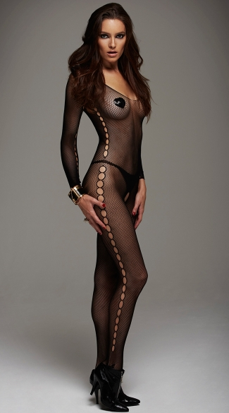 Panty Silhouette Bodystocking, Long Sleeve Net Bodystocking