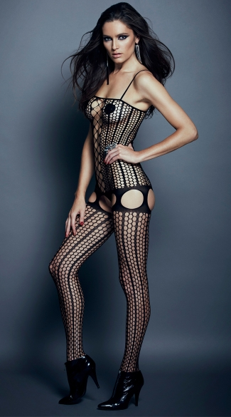 Pinstripe And O Net Bodystocking