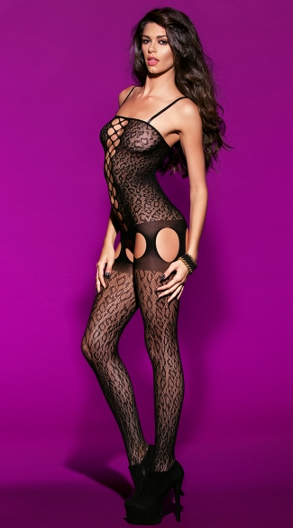Crotchless Animal Print Bodystocking