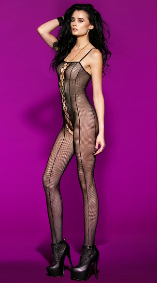 Pinstripe Fishnet Open Crotch Bodysuit, Full Body Fishnet, Erotic Underwear