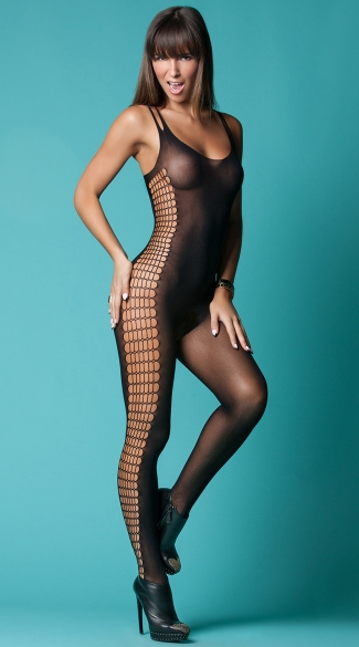 Command Attention Scoop Neck Bodystocking, Sexy Sheer Black Bodysuits, Full Length Lingerie Bodysuits