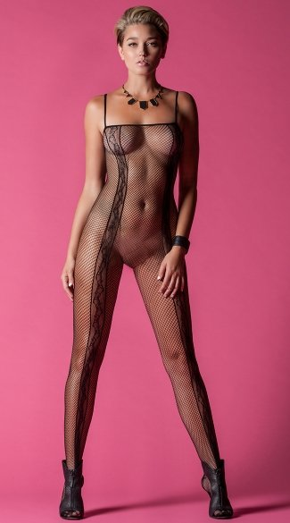 Time To Play Fishnet Bodystocking, Sexy Mesh And Lace Bodysuits, Black Spaghetti Strap Bodystockings