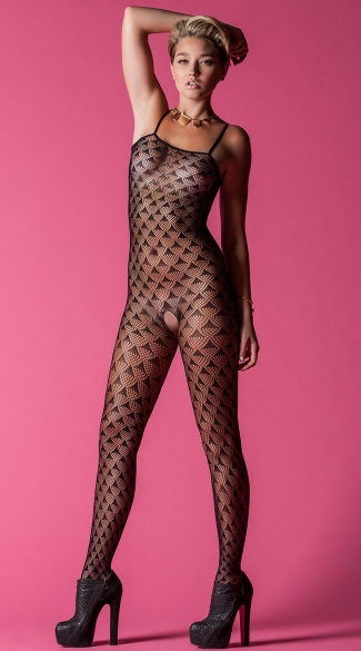 Prism Pattern Crotchless Bodystocking