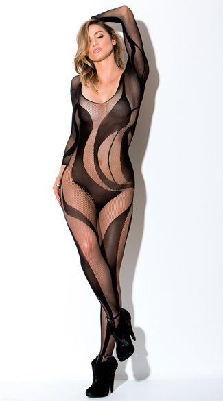 Long Sleeve Swirl Bodystocking