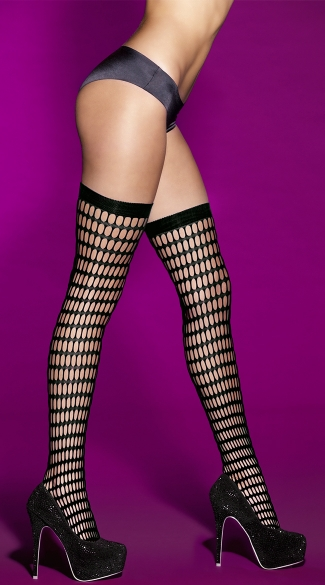 Rounded Fishnet Thigh High
