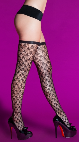 Prism Pattern Thigh High, Sexy Sheer Black Thigh Highs, See Through Patterned Stockings