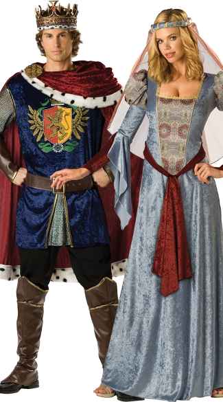 King and Queen Couples Costume, Noble King And Queen Costume, Medieval Couples Costume