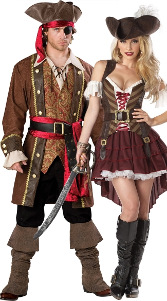Wanted Pirates Couples Costume, Pirate Captain Couples Costume, Couples Swashbuckler Costume