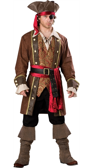 Captain Skulduggery Costume, Mens Deluxe Pirate Costume