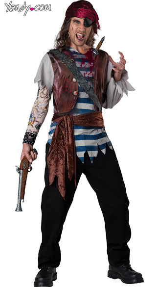 Men\'s Dead Man\'s Chest Costume, Men\'s Pirate Costume, Men\'s Zombie Pirate Costume