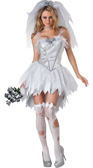 Dead Bride Costume, Bloodless Bride Costume, Corpse Bride Halloween Costume