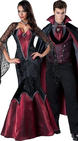 Deluxe Vampire Couples Costume, Halloween Couples Vampire Costume