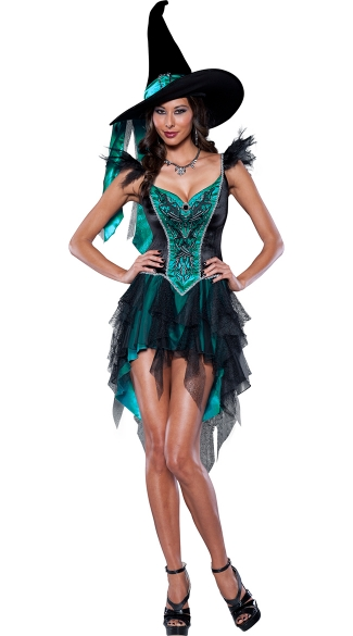 Deluxe Turquoise Witch Costume, Enchanting Witch Costume, Adult Witch Halloween Costume