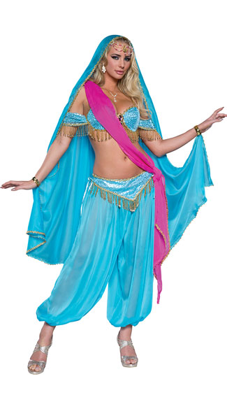 Deluxe Exotic Jewel of the East Costume, Sexy Blue Princess Costume, Sexy Genie Costume