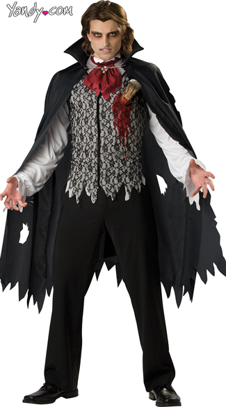 Vampire B. Slayed Costume, Slayed Black and Grey Vampire Costume, Staked Bloody Vampire Costume