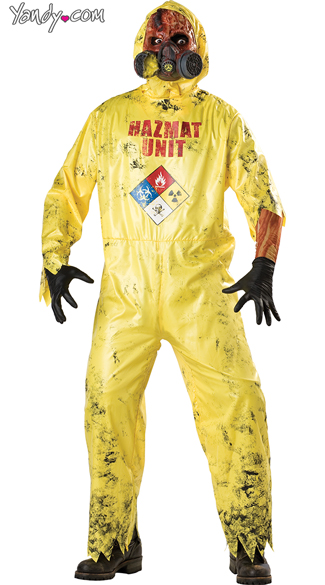 Hazmat Hazard Costume, Scary Yellow Vinyl Hazmat Costume, Exposed Hazmat Hazard Costume