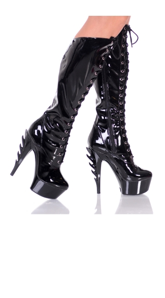 Burn It Up Knee High Boots with Flame Stiletto
