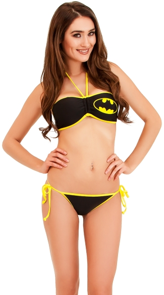 Bat Girl Bandeau Bikini and String Bottom, Sexy Cosplay Bikinis, Bat Girl String Bikini