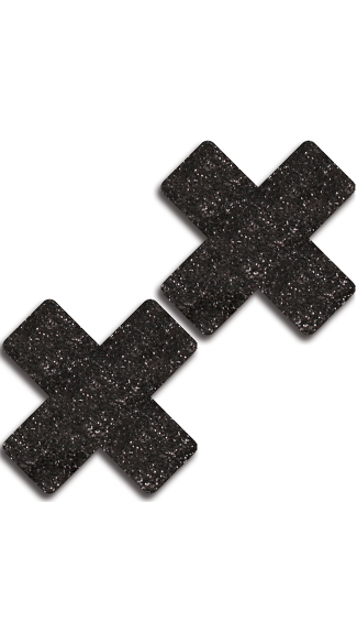 Black Glitter Cross Pasties