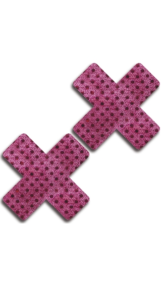 Pink and Black Dot Cross Pasties, Metallic Pink Pasties